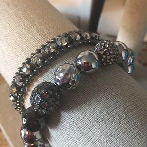 Stella & Dot Black & Silver Bracelet Set